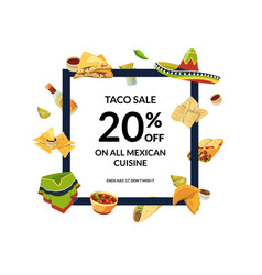 cartoon mexican food flying around frame vector image