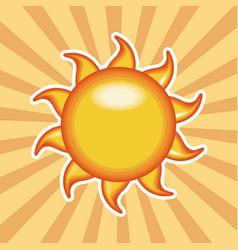Cartoon sun sunny shiny with stripes background vector