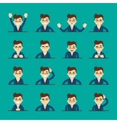 Cartoon young man expressing different emotions vector