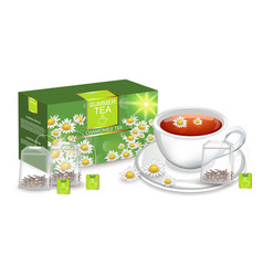 Chamomile tea realistic product packaging vector