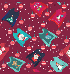 christmas background with cute ugly christmas vector image