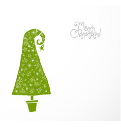 christmas greeting card with green christmas tree vector image