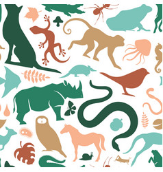 Colorful wild animal icon seamless pattern vector
