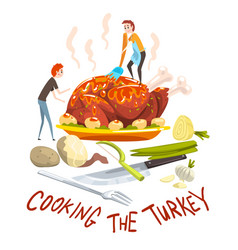 cooking turkey two little men cooking huge vector image