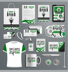 corporate identity of sport bar with beer ball vector image
