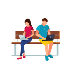 couple of young people sitting on the bench vector image
