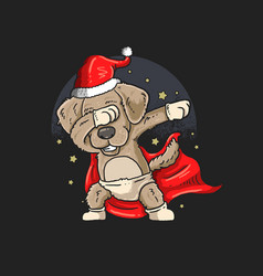cute pug dabbing dance graphic vector image