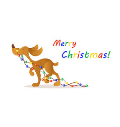 cute smiling yellow dog carrying christmas lights vector image