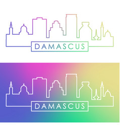 damascus skyline colorful linear style editable vector image