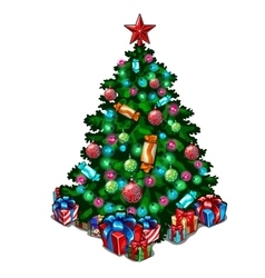 Decorated Christmas tree with toys and gifts vector