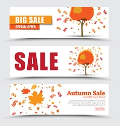 design web banners for sale with autumnal tree vector image