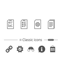 document report and checklist line icons vector image