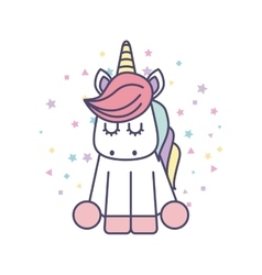 Drawing Cute Unicorn Icon Royalty Free Vector Image