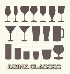 Drinking Glasses Silhouettes vector image