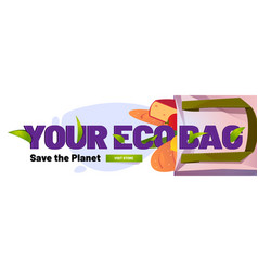 eco bag save planet banner with cotton tote vector image