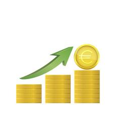euro coins with green arrow vector image