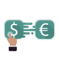 Exchange dollar on euro icon flat for graphic vector