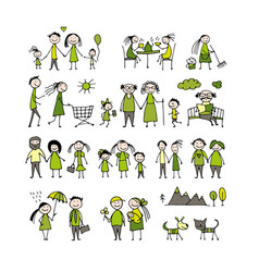 Family set sketch for your design vector
