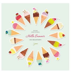 Festive round frame made of ice-cream cones with vector