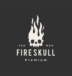 fire skull flame hipster vintage logo icon vector image