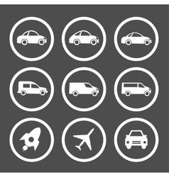 Flat car icons set vector