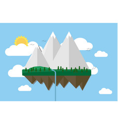 floating island with mountain hill tree and birds vector image