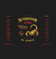 font scorpion sting craft retro vintage typeface vector image