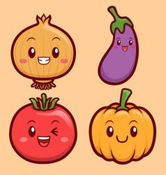 funny and cute vegetables character vector image