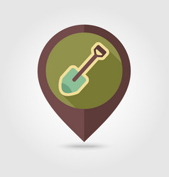 Gardening shovel flat pin map icon vector