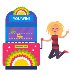 Girl jumping for joy in casino slot machines cars vector