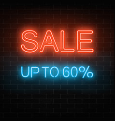glowing neon big sale sign inviting banner with vector image
