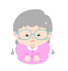 Grandmother having stomach ache cartoon vector