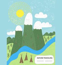 Green meadows and mountains vector
