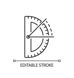 Half circle protractor linear icon vector