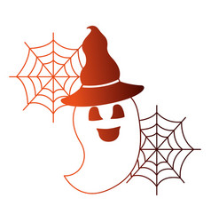 halloween ghost with hat witch isolated icon vector image