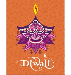 Happy diwali diya oil lamp design vector