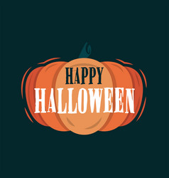 happy halloween title on a pumpkin vector image