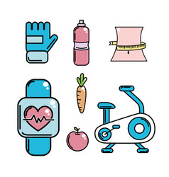 Healthy lifestyle tools icons to practice exercise vector