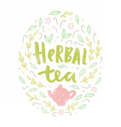 Herbal tea Lettering and doodles vector image