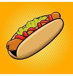 Hot dog fast food pop art style vector