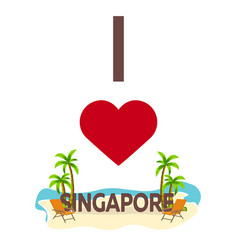 I love singapore travel palm summer lounge vector