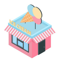 Ice cream building icon isometric style vector