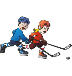 ice hockey kids playing vector image
