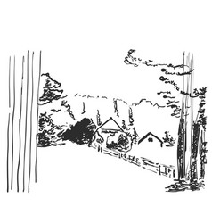 Image landscape with a house among the vector