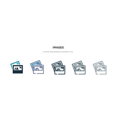 Images icon in different style two colored and vector