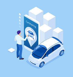 Isometric man holding a smartphone renting a car vector