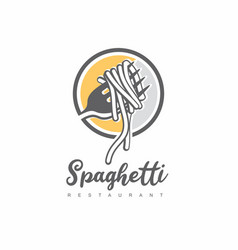 italian spaghetti logo design idea vector image