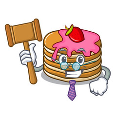 judge pancake with strawberry mascot cartoon vector image