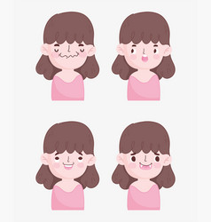 kawaii cartoon faces cute brunette little girl vector image
