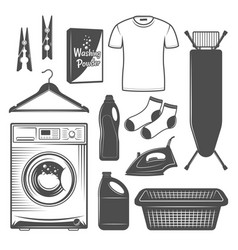 Laundry room and service design elements vector